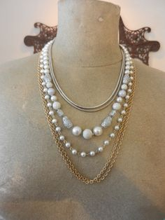 Statement Necklace Reclaimed Recycled Jewelry 6 Strands Chains &Pearls-You can find all of this at thrift shops and put it together as you like. A small safety pin on either side of the clasps should keep it together and make it look like one necklace. You can then change it as you wish.