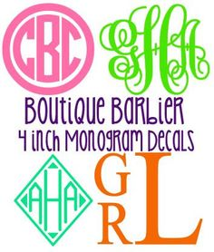 This listing is for 1 solid, glitter, or chevron vinyl 4 inch monogram. These are great on binders, folders, computers, cars, anything!!    The