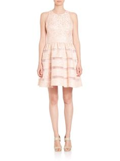 Aidan Mattox - Jacquard Illusion Stripe Party Dress