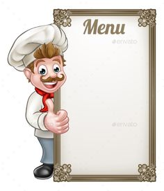 Buy Cartoon Chef Menu by Krisdog on GraphicRiver. Cartoon chef or baker character giving thumbs up with menu sign board Menu Card Design, Food Menu Design, Food Poster Design, Food Graphic Design, Logo Design, Chef Images, Chef Pictures, Cartoon Chef, Chef Logo