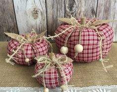3x rustic stuffed fabric pumpkins, fall decoration, thanksgiving table decor or Halloween decor.