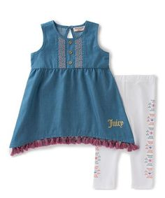 Love this Blue Fringe Sidetail Tunic & Leggings - Infant & Toddler on #zulily! #zulilyfinds