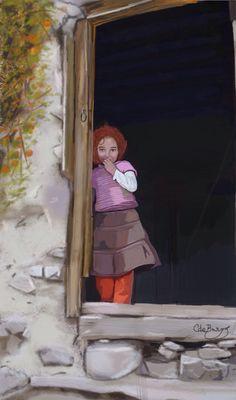 Dibujo de niña en la puerta de casa