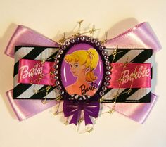 Dolly Stripes Cameo Hair Bow Clip Accessory by by CutieDynamite, $23.00