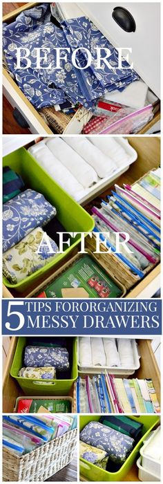 5 TIPS FOR ORGANIZING THE MESSIEST DRAWERS IN YOUR HOME- go from clutter to organized-stonegableblog.com