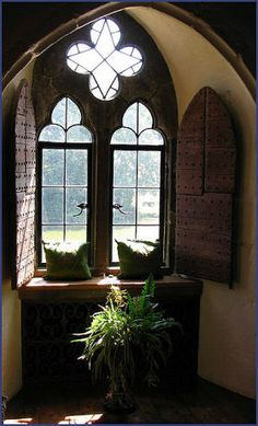 Leeds Castle window, Kent, England Built in 1119 by Norman Robert de Crevecoeur, most of the castle remains as they were laid out by King Edward I, with later additions by King Henry VIII. To my mind one of the most beautiful castles in England