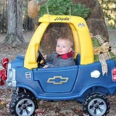 carrying his great great grandmas tree little tikes cozy truck christmas