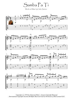 Samba Pa Ti by Santana, for classical Guitar solo or acoustic Guitar fingerstyle. With standard notation and tablature. Five pages, min, early intermediate. PDF and in one compressed (zip) file. Guitar Tabs Acoustic, Guitar Chords And Lyrics, Easy Guitar Tabs, Guitar Tabs Songs, Guitar Notes, Guitar Chord Chart, Jazz Guitar, Guitar Solo, Solo Music