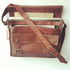 Rugged Leather Satchel Office bag.