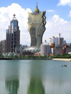 Macau skyline, from the shore of Nam Van Lake by thewamphyri, via Flickr
