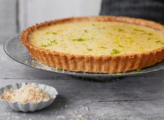 Try out this traditional lemon lime tart with a twist. The coconut pastry gives this delicious recipe a new kick & is definitely a recipe to try. Easy Tart Recipes, Lime Recipes, Pastry Recipes, Sweet Recipes, French Tart, Tart Filling, Fruit Tart, Sweet Tarts, Pie Dessert