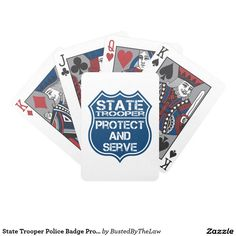 State Trooper Police Badge Protect and Serve Bicycle Playing Cards