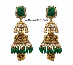Stunning, uncut diamond ruby drops jhumka
