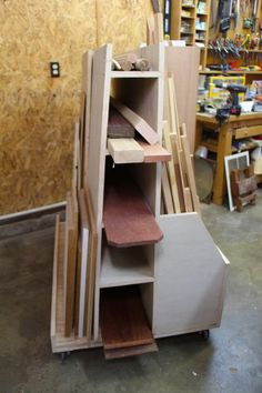 Woodworking for Mere Mortals: Free woodworking videos and plans. : Make a rolling lumber cart