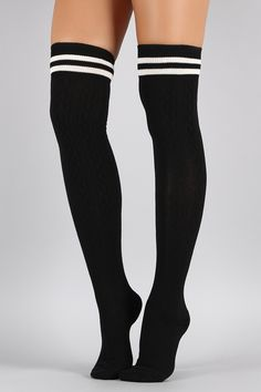 Double Stripe Textured Thigh High Socks | UrbanOG