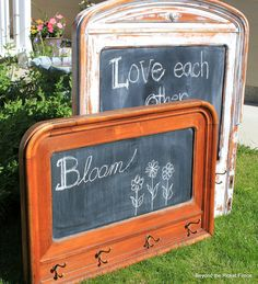 Repurposed headboard chalkboard ~ Beyond The Picket Fence ... for kids to hang coats on with an inspirational quote