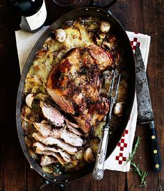 Slow-roast lamb shoulder with layered potatoes