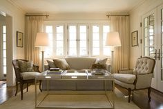 Short Curtain Rod Design Ideas, Pictures, Remodel, and Decor - page 5 Short Curtain Rods, White Curtain Rod, Picture Window Curtains, Living Room Seating, Living Rooms, Blue Curtains, Cute Home Decor, Home Remodeling, Family Room