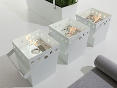 Giovanni Talocci has designed a line of freestanding bioethanol fireplaces and planters for the Italian manufacturer Falper. The best part about these minimalist designs is that they are portable. Instead of everyone gathering around a built-in fireplace, the fire can be moved to wherever the people are – each piece comes with a carrying handle.