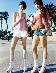 Vogue UK July 2004 Miami Vice by Terry Richardson with models Jessica Miller and Nicole Trunfio