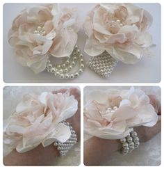 Wrist Corsage Ivory and Champagne 4 Romantic by theraggedyrose