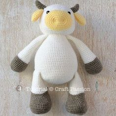 Get free cow amigurumi pattern, MooMoo Cow, crochet from a medium weight acrylic yarn in white, yellow & brown. The black patches are sewn on felt. – Page 2 of 2