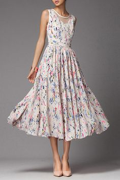 Vintage Style Floral Midi Bohemian Summer Dress