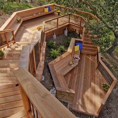 This unique redwood stairway and deck combination provides several spaces for outdoor entertaining.