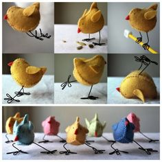 DIY Easter or Springtime Chicks with Wire Legs. Tutorial and pattern download…