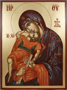 High quality hand-painted Orthodox icon of Theotokos Pelagonitissa. BlessedMart offers Religious icons in old Byzantine, Greek, Russian and Catholic style. Religious Icons, Religious Art, Virgin Mary, Greek Icons, Paint Icon, Madonna And Child, Orthodox Icons, Tempera, Byzantine