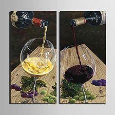 gepersonaliseerde canvas afdrukken van een glas rode wijn 30x 60cm 40x80cm ingelijst canvas schilderij set van 2 - EUR € 30.05