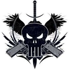 The Punisher skull with guns Punisher Tattoo, Punisher Symbol, Spirit Of Vengeance, Shooting Guns, Marvel, Super Hero Costumes, Fun Comics, Skull Tattoos, Skull Art