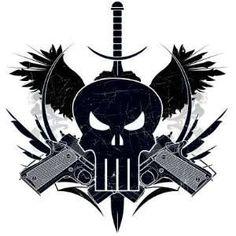 The Punisher  skull with guns | ... punisher skull shooting d marvel extreme punisher skull shooting gun