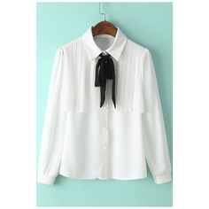 Lapel Bow Tie Pleated Detailed Chiffon Buttons-Down Shirt (412.715 IDR) ❤ liked on Polyvore featuring tops, blouses, white collar shirt, white button down blouse, white shirt, long button down shirt and button down shirts