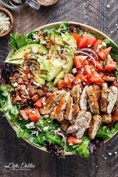 BLT Balsamic Chicken Avocado & Feta Salad | cafedelites.com