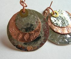 This are completely handmade. I do all of the hammering and stamping, filing and finishing. I have a thing for leaves so I snuck them in on the copper l. Metal Stamping, Hand Stamped, Washer Necklace, Handmade, Jewelry, Art, Art Background, Hand Made, Jewlery
