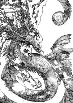 Epic drawings by Japanese artist Katsuya Terada Art And Illustration, Ink Illustrations, Epic Drawings, Drawing Sketches, Fantasy Kunst, Fantasy Art, Carpe Koi, Comic Kunst, Arte Sketchbook