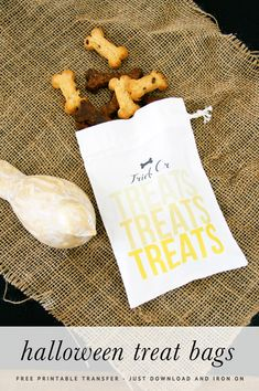 Easy DIY Halloween treat bags - with FREE printable in 4 different designs and colours. Just print, and iron on - great Halloween activity for kids.