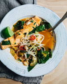 red curry soup with poached salmon // brooklyn supper Best Seafood Recipes, Healthiest Seafood, Salmon Recipes, Fish Recipes, Asian Recipes, Thai Recipes, Supper Recipes, Healthy Dinner Recipes, Cooking Recipes
