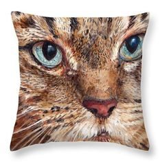 Portraits by NC.com Decorative Pillows #pillows #cushions #kissen #cat #katzen #cats #katzen #home https://portraits-by-nc.com/products/domestic-tabby-cat-throw-pillow