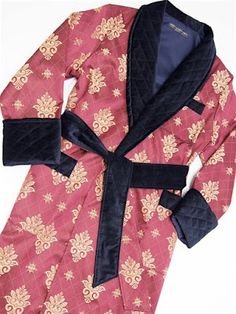 4004ff7f67 Men s traditional long luxury dressing gown with quilted shawl collar in  velvet and silk. Classic paisley robe and smoking jacket-style robe for men.