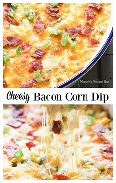 Cheesy Bacon Corn Dip will be the hit at any party or game day. Cheese, bacon, corn and jalapenos all come together for a delicious appetizer.