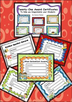 $This package contains 21 unique award certificates to give to your students at the end of the school year or during award ceremonies throughout the school year.