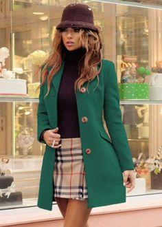 Palton dama stofa verde