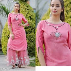Kurta Sets Women's Pink Rayon Slub Kurta with Sharara Kurta Fabric: Rayon Slub Bottomwear Fabric: Rayon Slub Fabric: Rayon Slub Set Type: Kurta With Bottomwear Bottom Type: Sharara Sizes: XL L M XXL Country of Origin: India Sizes Available: S, M, L, XL, XXL, XXXL, 4XL   Catalog Rating: ★4 (424)  Catalog Name: Aakarsha Drishya Women Kurta Sets CatalogID_1682098 C74-SC1003 Code: 668-9540274-0732