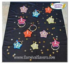 Starry Night Ring Toss Carnival Game!These fun wooden stars and rope ring supplies go with our fabulous Starry Night RingToss Game. A very simple carnival game to set up and store for years to come!  These colorful wooden stars come with wooden dowls to attach with a screws (included in each set) If you are looking for an quick carnival booth idea - this one should be on your list!