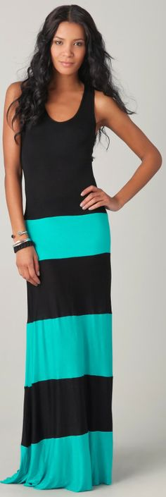 Mint and black long tank dress fashion...I got the pink one:0)