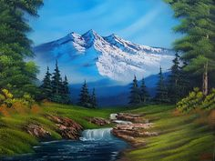 "Bob Ross ""Mountain Hideaway Redux"" Oil canvas Original Oil Painting Modern Large Wall Art Decor…Impasto Mountain Painting, Little Mountain Art,…Nueve Easy Canvas Painting Ideas For Beginners Waterfall Paintings, Scenery Paintings, Mountain Paintings, Nature Paintings, Landscape Art, Landscape Paintings, Painting Digital, Pinturas Bob Ross, Beautiful Paintings Of Nature"