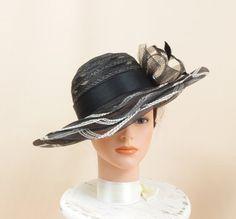 f8fb6c5d7a3 White and Black Hat   Kentucky Derby Hat   Church Hat   Ascot Hat   Formal  Hat   Floppy Hat   Wide Brim Hat   Fashion Hat   Black Derby Hat