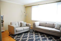 Rambling Renovators: #RockTheRental: Dining & Living Room Progress featuring Rugs USA trellis area rug